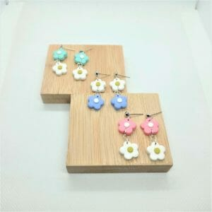 Double Daisy Dangle Stud Earrings (Lots of color combinations!) - JustArtisan - GemibabyCrafts -