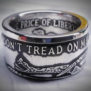 Don't Tread On Me 999 Fine Silver Coin Ring - JustArtisan - Top Quality Coin Rings -