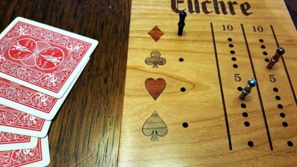 Deluxe - Travel Euchre Score Board - JustArtisan - Unique Wood Products -