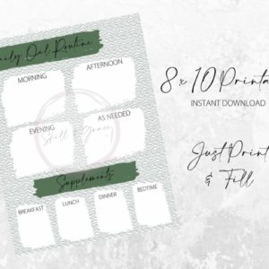 Daily Oil Routine Printable - Green with Green Lines - JustArtisan - SkillAndGrace - Digital