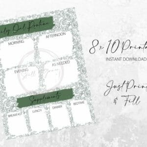 Daily Oil Routine Printable - Green with Green Floral - JustArtisan - SkillAndGrace - Digital