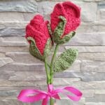 Crochet rose flower, Valentines Day, wedding anniversary gift, Mother's Day gift, fake flowers - JustArtisan - Two Bobs In A Pod - Handmade