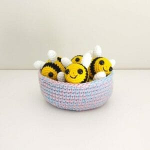 Crochet bowl and mini bees - JustArtisan - Two Bobs In A Pod - Handmade