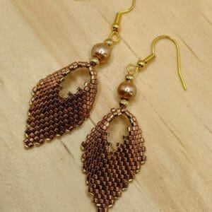 Copper and gold beaded leaf earrings | Russian leaf handmade dangle earrings with copper glass pearl bead - JustArtisan - Bella Accessories - Handmade