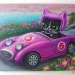 """Commission your own Bugeyed Scoot - """"Pesky Racer"""" Pop Surreal Cat Art, Original Mini Painting - JustArtisan - AGblend13 -"""