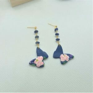 Clay Butterfly with Peony Flower and Sodalite Dangle Earrings - JustArtisan - GemibabyCrafts -