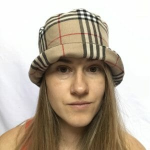 Burberry Style Beige Printed Fabric Fitted Bucket Hat Handmade in Poland - JustArtisan - Patch Up Designs - Handmade