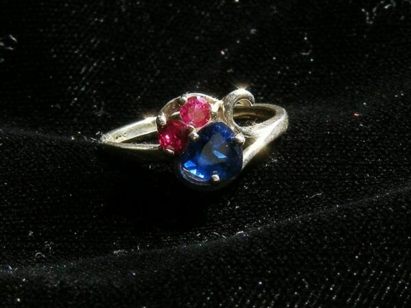 Blue spinel and red ruby sterling silver ring. - JustArtisan - Mat's Machinations -
