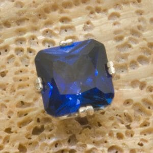 Blue octo cut sapphire tie tack in silver. - JustArtisan - Mat's Machinations -