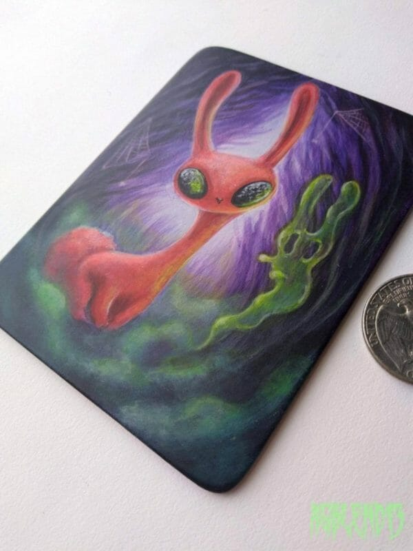 Blood Bunny and the Gummy Ghost - Original Pop Surreal Painting, Strange Lowbrow Art, Spooky Fantasy Animal, Halloween Miniature Painting - JustArtisan - AGblend13 -
