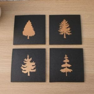 Black Faux Leather Coasters with Copper Foiled Trees - JustArtisan - SkillAndGrace -