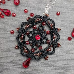 Black and red beaded lace pendant necklace | tatting lace necklace | lightweight beaded pendant necklace - JustArtisan - Scribbles & Knots -