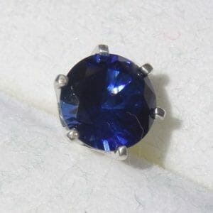 Beautiful blue sapphire tie tack in silver. - JustArtisan - Mat's Machinations -