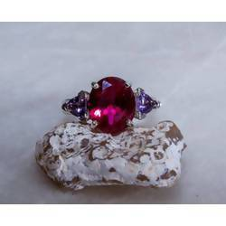 Amethyst Accented Ruby and Sterling Ring. - JustArtisan - Mat's Machinations - Handmade