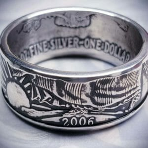 American Silver Eagle Coin Ring (1986-2019) 99.9% pure silver - JustArtisan - Top Quality Coin Rings -