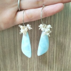 Amazonite and Pearls Hoop Earrings, Silver Plated Wire Wrapped Matched Gemstone Pair with White Pearls, Beach Vibes - JustArtisan - GemibabyCrafts -