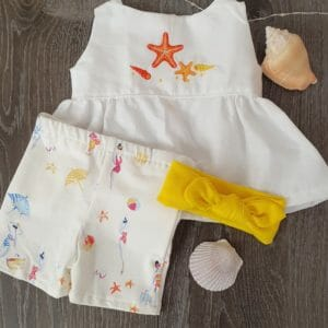 """JustArtisan """"Beach Time"""" Top & Bottom Outfit  (0-3 Months) ."""